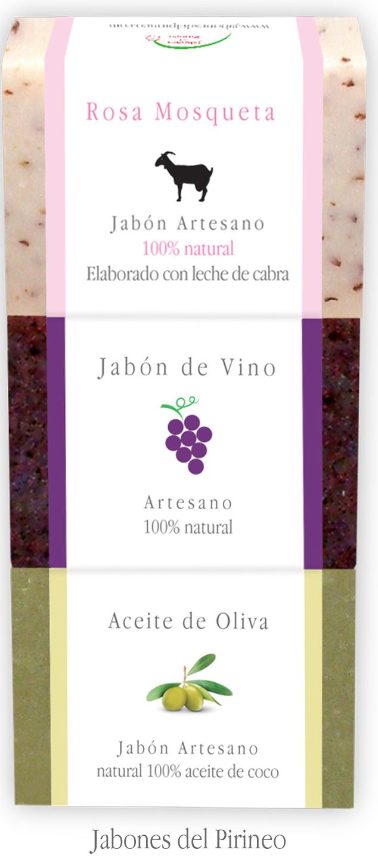 Pack Jabones Leche de Cabra y Rosa Mosqueta, Vino y Aceite de Oliva
