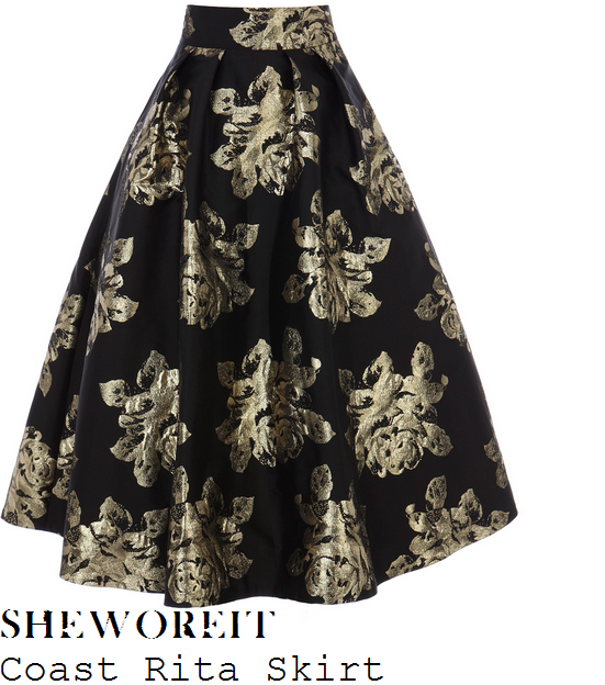 hannah-barrett-black-and-gold-rose-floral-print-full-midi-skirt-hello-magazine