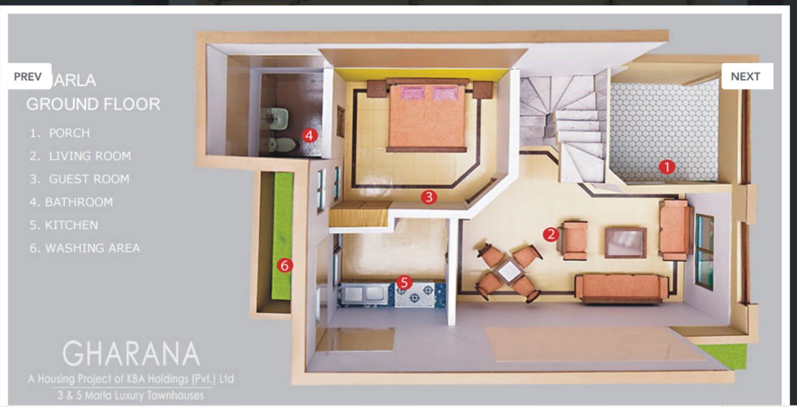 Tillupurian: 3-Marla Delux Housing Plan from Pakistani Builders