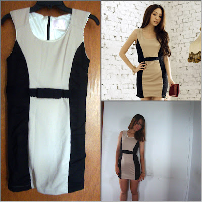 Yesstyle  Two-Tone Belted Sleeveless Dress