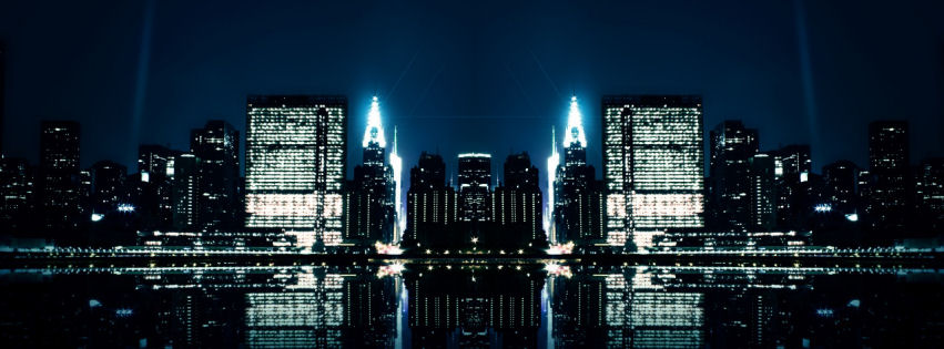 City night reflections facebook cover