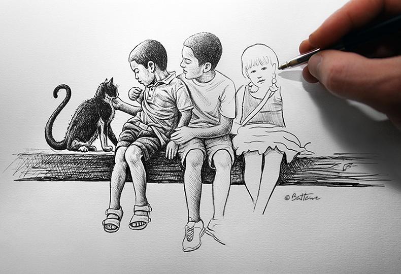 ballpoint pen art and drawing by Ben Heine - 2014 Robin Williams Black ... Zena Grey 2013