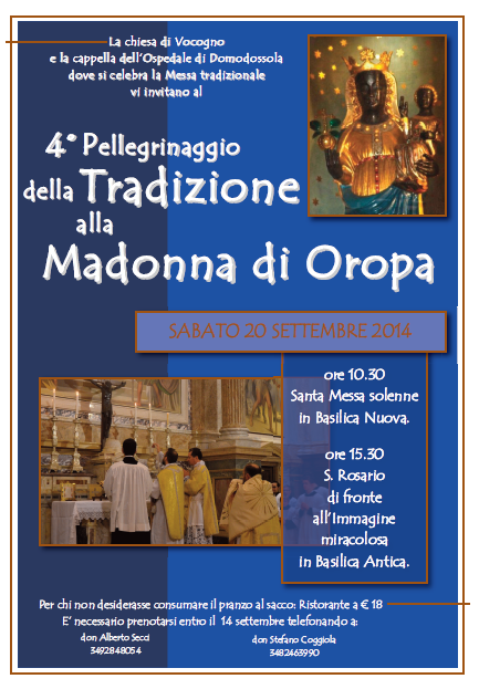 4° PELLEGRINAGGIO DELLA TRADIZIONE AL SANTUARIO DI OROPA