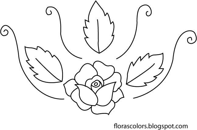 Flora S Colors Free Hand Embroidery Pattern Rose With Leaves