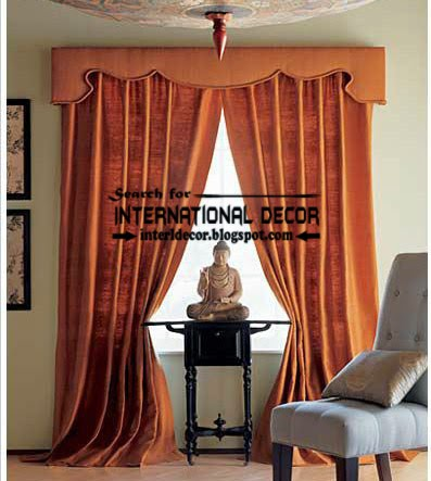 Classic orange curtain designs and window treatment, classic curtains