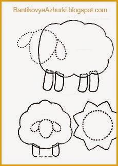 схема-шаблон выкройки овечки (овцы)