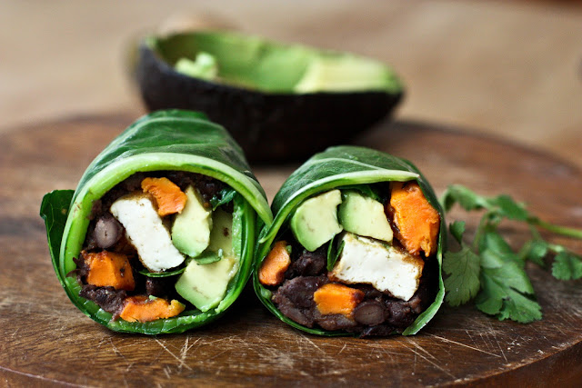 Collard Green Wraps with Roasted Yam and Chipotle Black Beans