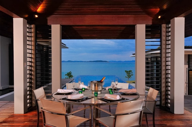 Dining table and the view in Contemporary villa in Phuket, Thailand