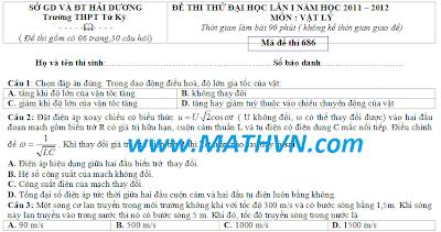 de thi thu dh mon ly, 2012, de thi thu dai hoc vat ly