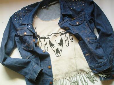 diy katana ćwieki rock czaszka indianskie ombre moda jeans