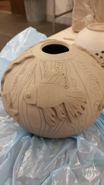 Ceramic pottery sculptural fish bowl in progress.