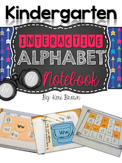 This is a graphic showing the cover photo of an Kindergarten Interactive Notebook for the Alphabet.