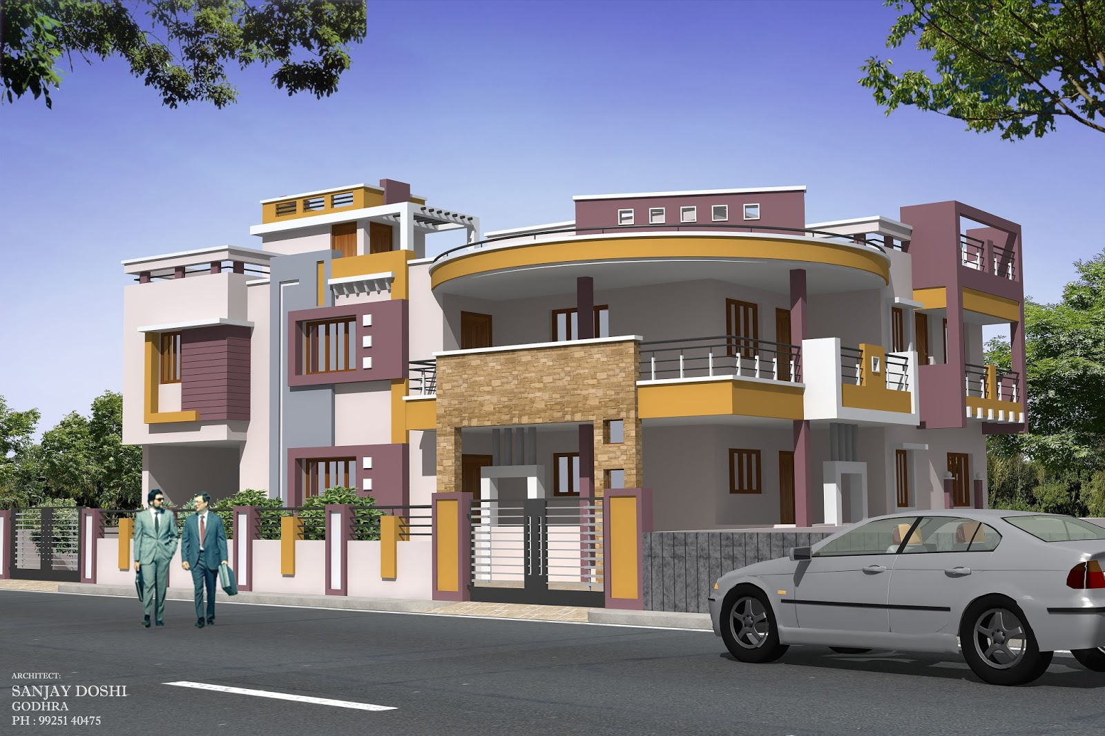 Aesthetic elevation and modern elevation rachana architect for Architecture design for home in vadodara