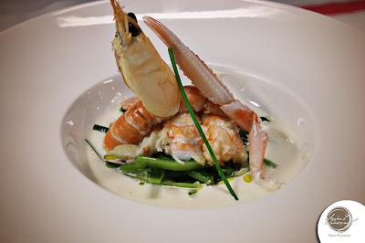 Come cucinare il pesce - crema di mandorle con zucchine e scampi