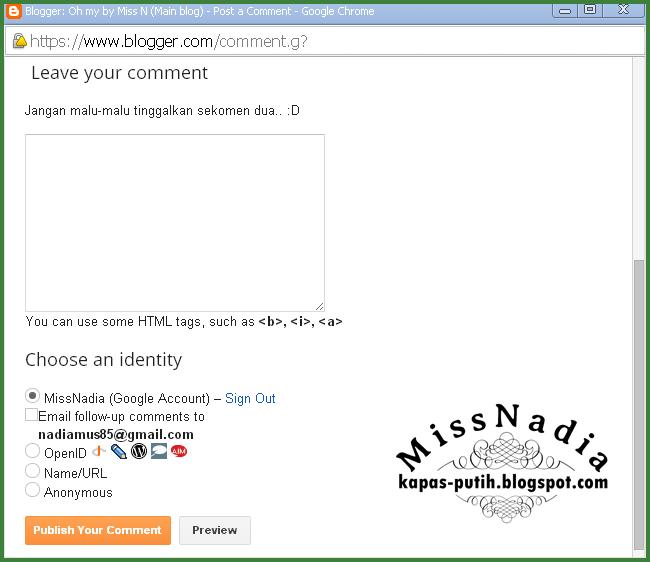 Pop-up window KapasPutih & Visitor Identity