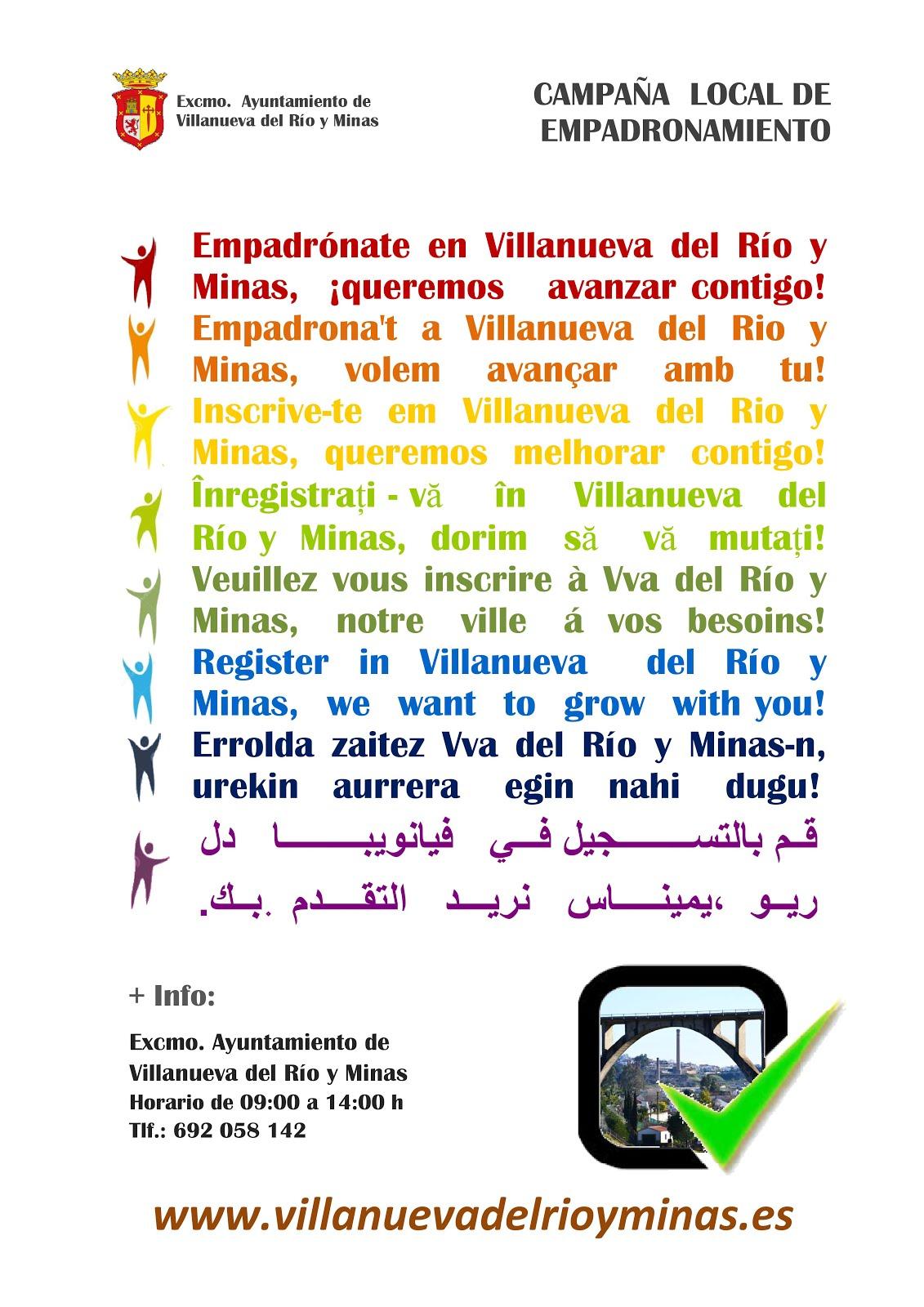 EMPADRÓNATE EN VILLANUEVA DEL RÍO Y MINAS, ¡QUEREMOS AVANZAR CONTIGO!