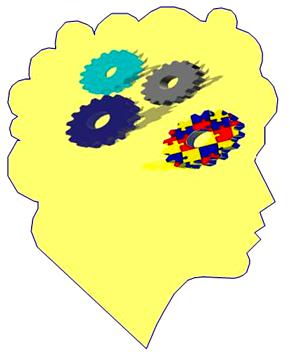 Dibujo de cabeza con engranajes, uno de ellos separado  y con textura de piezas de puzzle de colores