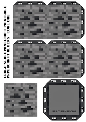 Large Scale Minecraft printable coal ore