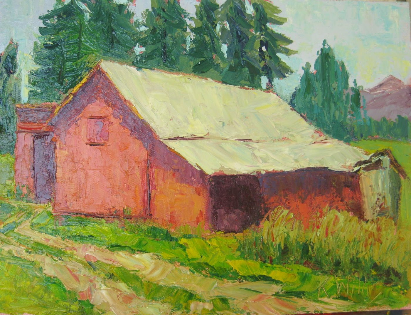 Outhouse Paintings - Postcards from idaho alvin s old barn and outhouse by kathryn willis