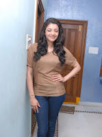 Kajal Agarwal spotted in a brown shirt and tight denim jeans
