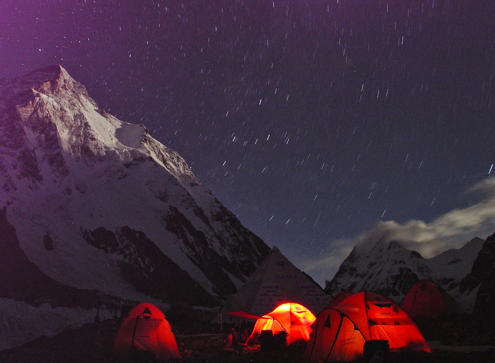 K2 Base Camp At Night the camps on the mountain