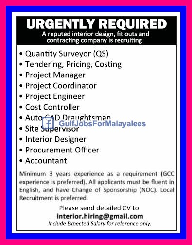Best Urgently Required For A Contracting Company Qatar Gulf Jobs U Interior With Designer Job Salary