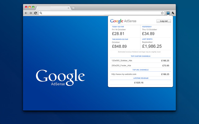 AdSense Publisher Toolbar Screenshot