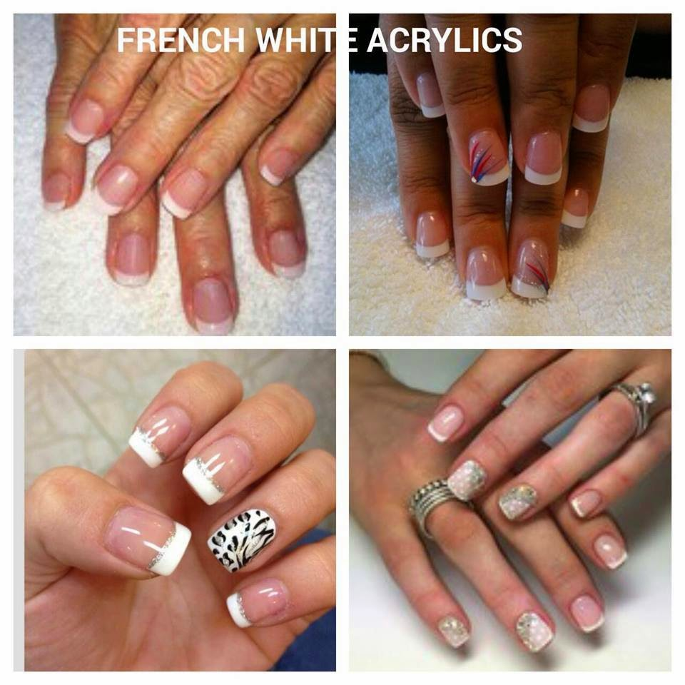 Shellac color coat manicure $20 one color French white acrylics for $30 all finished with a Shellac clear topcoat so lacquer shine