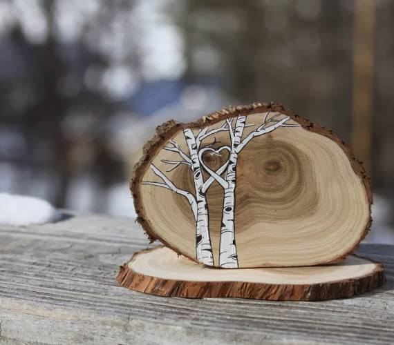 Woodland Cake Topper for your nature inspired Wedding or Shower hand drawn in ink on a beautiful slice of Juniper wood