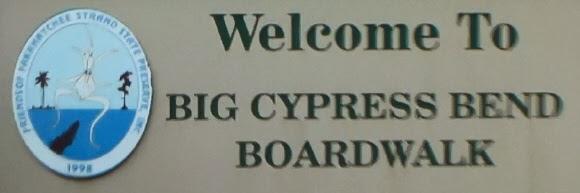 Eingangsschild Big Cypress Bend Boardwalk, Everglades Florida USA
