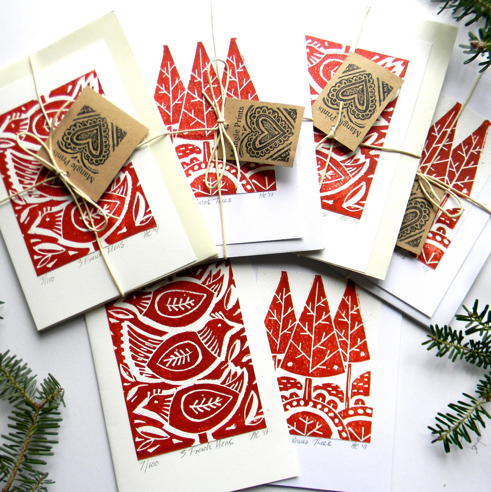 Mangle Prints: Christmas Cards and Heat!