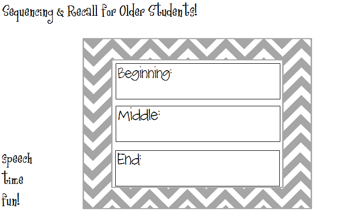Sequencing Recall for Older Students – Beginning Middle and End Worksheets