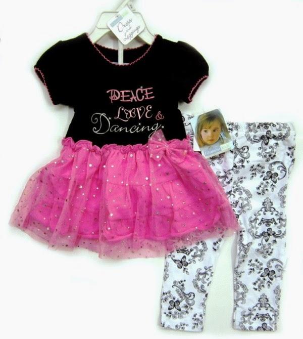 Setelan tutu untuk anak perempuan warna pink dan hitam model terbaru