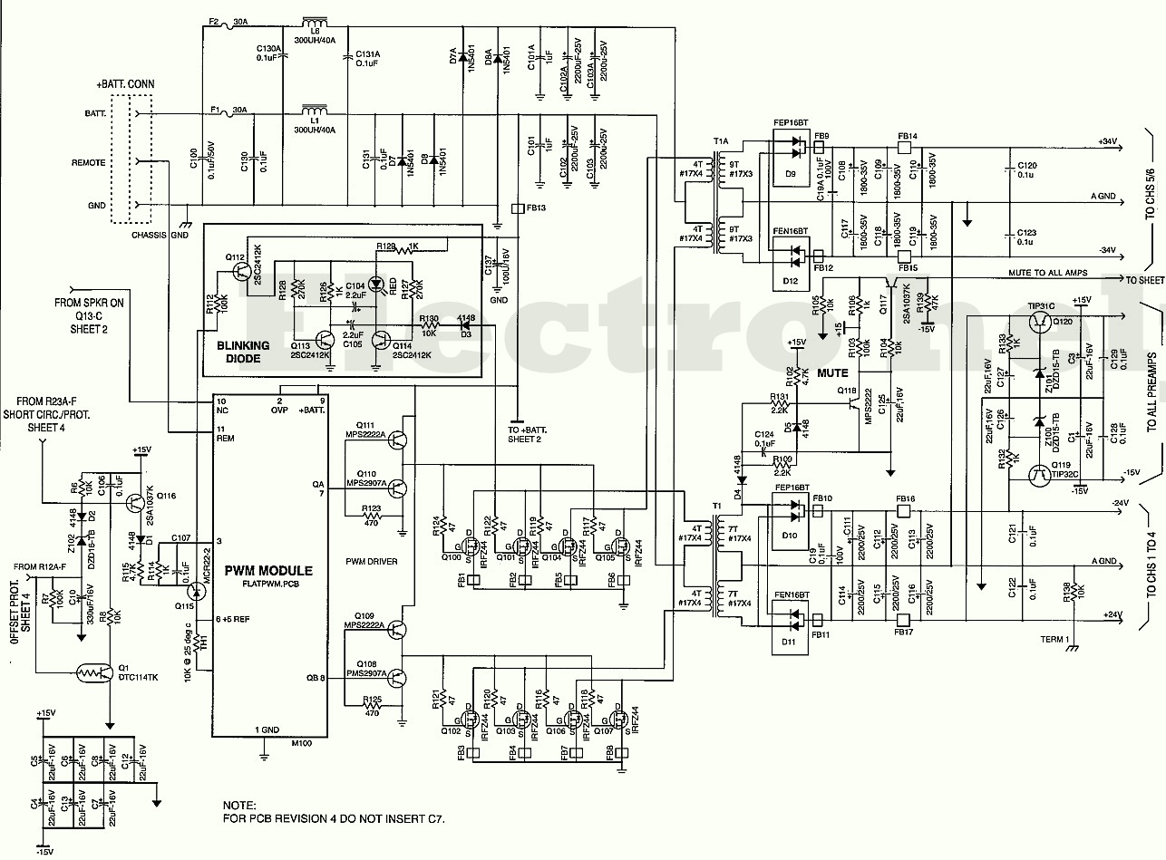 jbl gth400  4  3 channel automotive power amplifier  u2013 circuit diagram