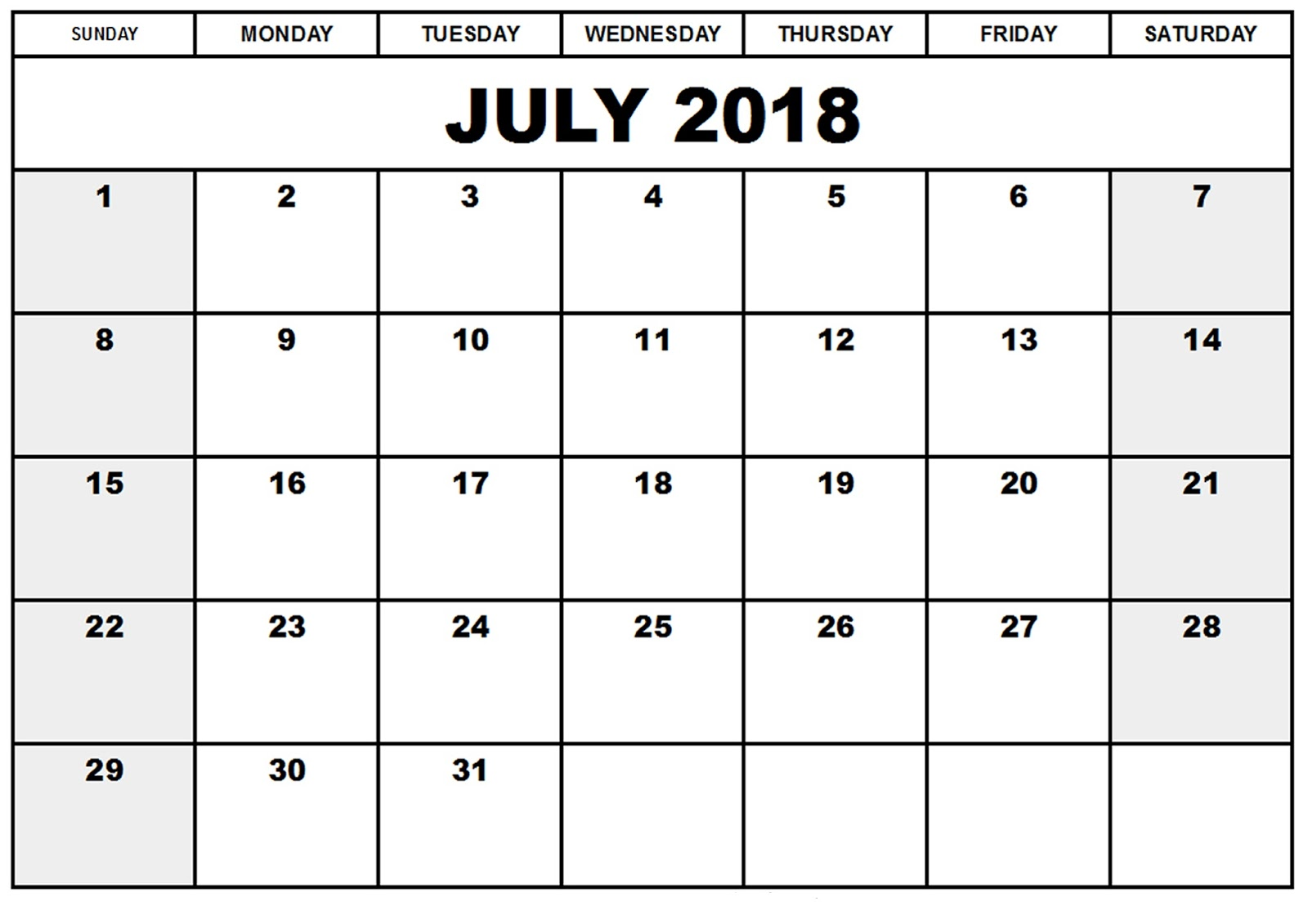 July 2018 Printable Calendar Templates