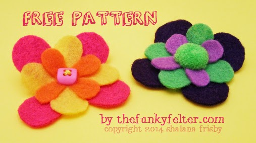felt flower pin or hair clip free printable pattern by the funky felter