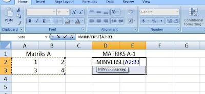invers matriks persegi di microsoft excel