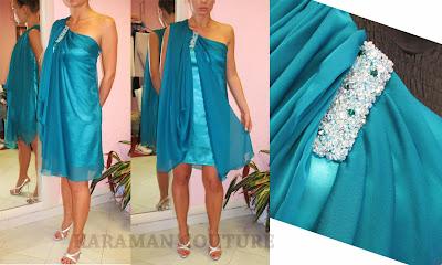 abito in chiffon per cerimonia,abiti di irina karaman,karaman couture,come cucire abito con drappeggio,abito da cerimonia corto