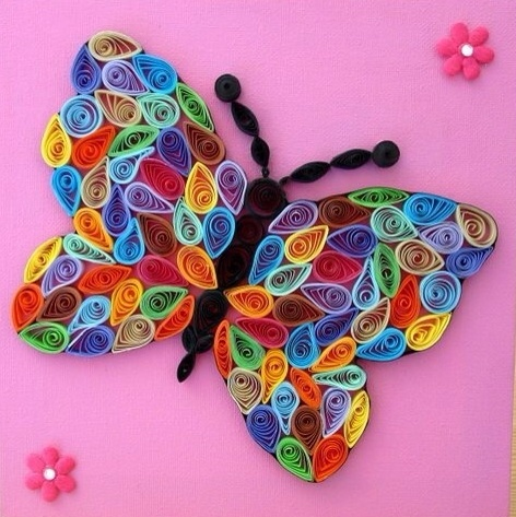 Beautiful quilled butterflies easy arts and crafts ideas for Butterfly art and craft