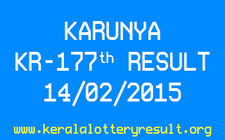 KARUNYA Lottery KR 177 Result 14-02-2015