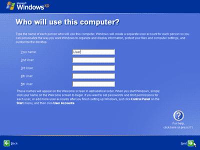 Memasukan nama untuk komputer