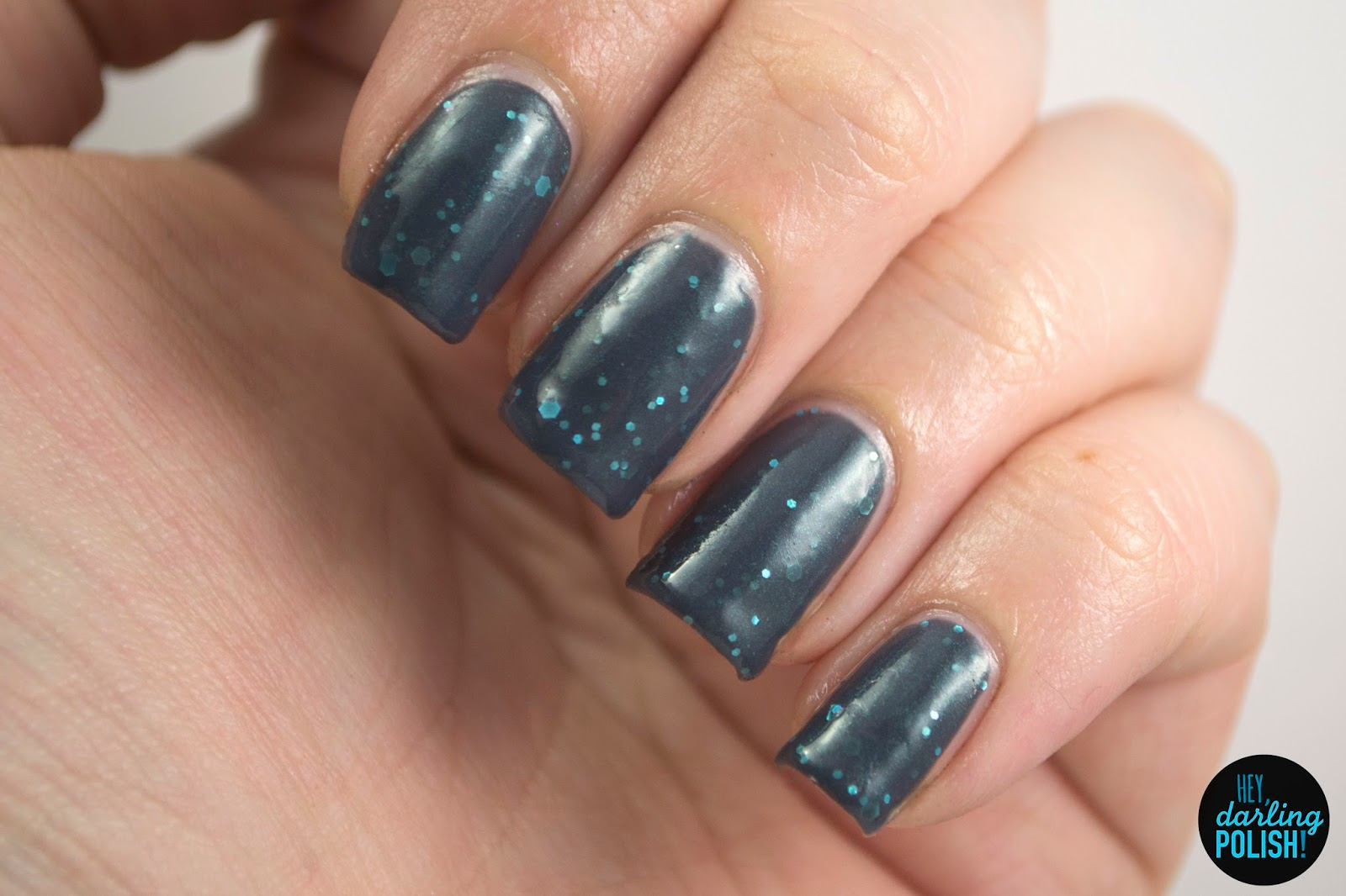 misty mountains, grey, teal, glitter, a study in polish, hey darling polish, nails, nail polish, indie, indie nail polish, indie polish, swatch,
