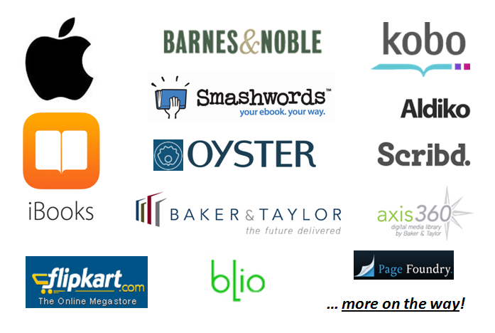 Smashwords distributes ebooks to Apple iBooks, Barnes & Noble, Kobo, Scribd, Oyster and public libraries