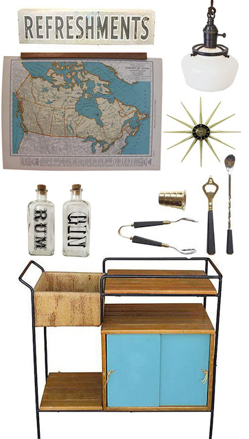 Styling a Bar Cart: Mid-Century Modern Meets Schoolhouse