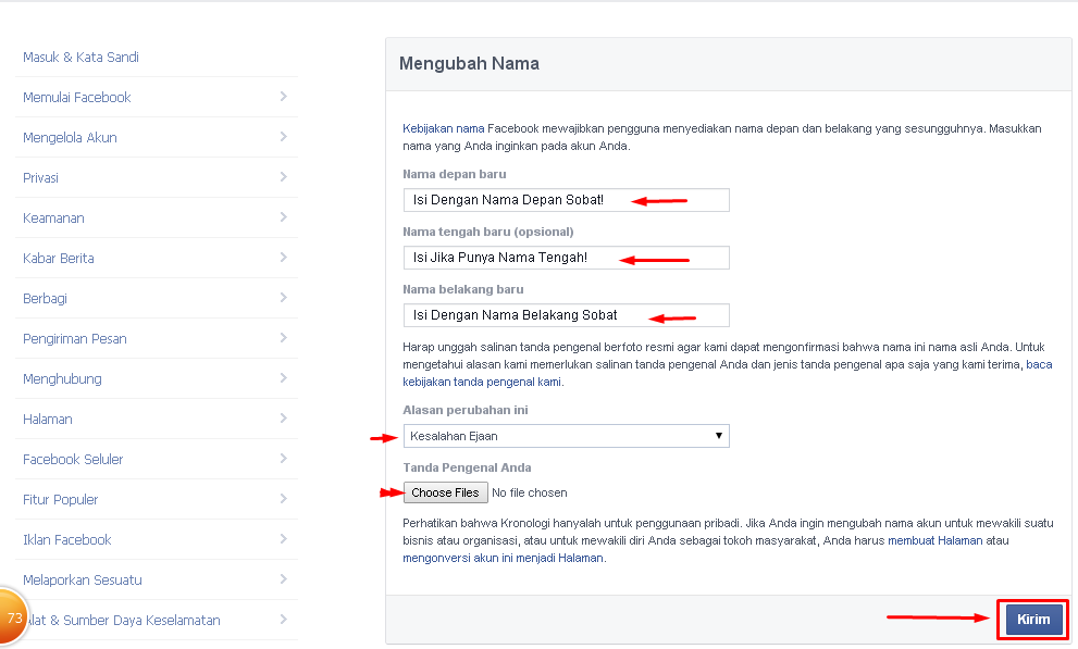 Cara Mengganti Nama Facebook yang Sudah Limit 2014