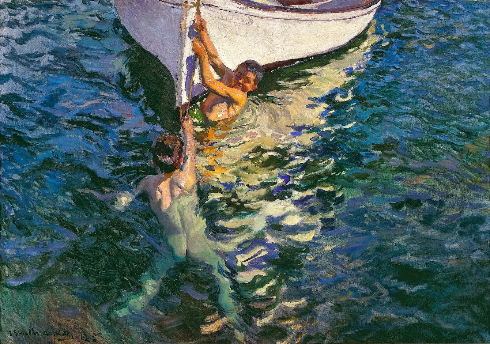 Joaquín Sorolla, El bote blanco. Jávea, 1905, Óleo sobre lienzo, 105 x 150 cm. Colección particular. Foto: Colección particular, Estados Unidos. Cortesía: Fundación Mapfre.