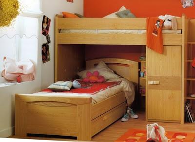 Dormitorios para ni os color naranja dormitorios con estilo - Habitaciones infantiles pequenos espacios ...