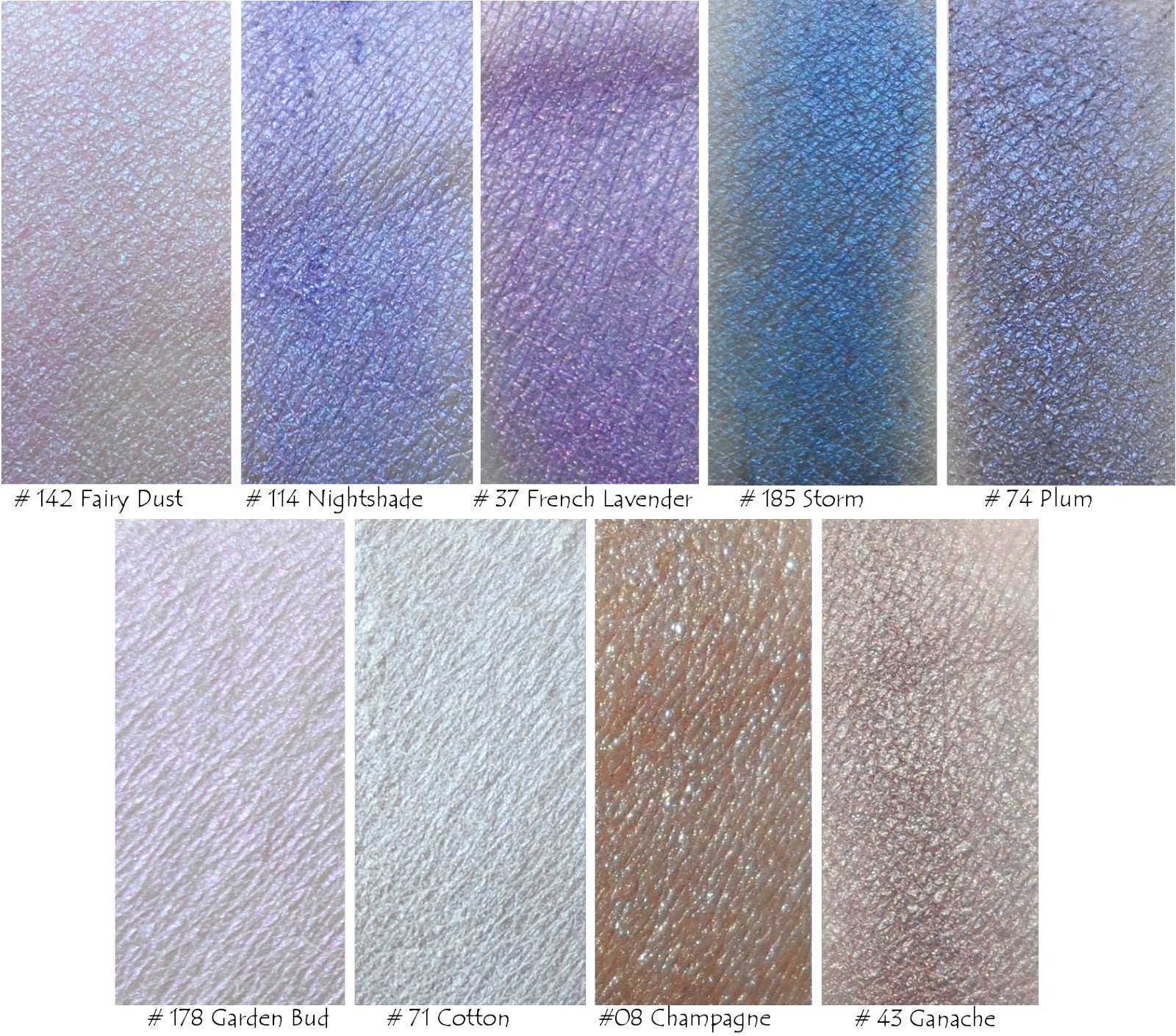 Madison Street Beauty fairy dust, nightshade, french lavender, storm, plum, garden bud, cotton , champagne, ganache swatch