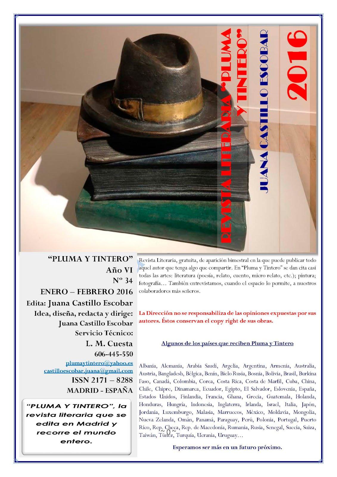 """Revista Literaria """"Pluma y Tintero - Nº 34 - Año VI - Enero-Febrero 2016"""