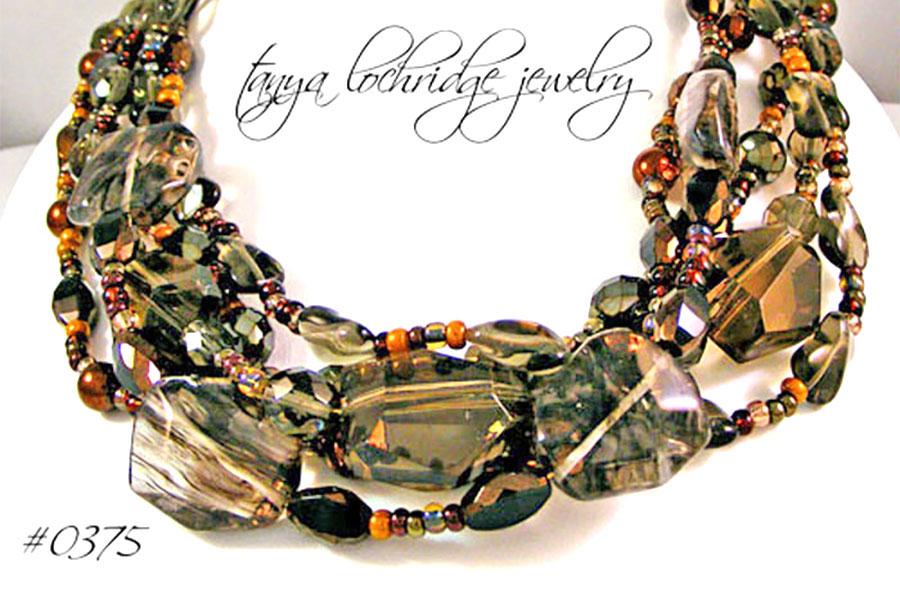 Tanya Lochridge Jewelry Smoky and Rutilated Quartz Gemstone Necklace